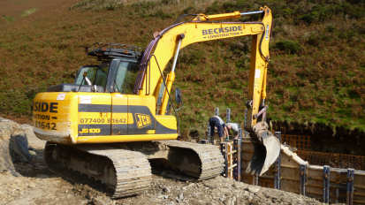 Beckside Construction excavator for hire